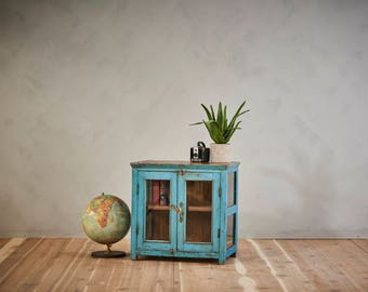Reclaimed Vintage Side Table Media Stand Indian Furniture Boho Furniture Blue Cabinet Moroccan Decor
