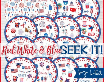 Patriotic SEEK IT Match Game, Americana Party Game, Patriotic Party Favor, Independence Day Printables, Picnic - Instant Download by Lisa