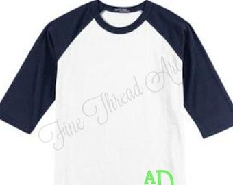 YOUTH SIZE HEM Monogram Baseball Tee TShirt Raglan Sleeve Shirt Team Colors Little League Softball TBall Mom and Me Shirts