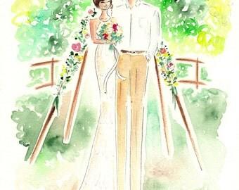 Custom Valentines Gift, Custom wedding Portrait, Custom Portrait , Custom couple portrait, Anniversary Present, First year anniversary,