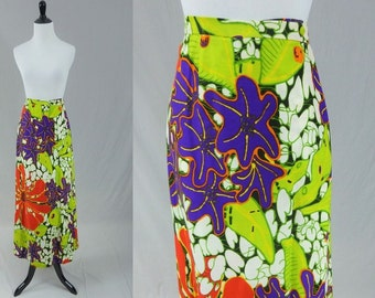 "60s Palazzo Pants Maxi Skirt - Purple Lime Red Bold Print - Giant Flowers - Barkcloth Texture - Alex Colman - Vintage 1960s - 29"" waist"