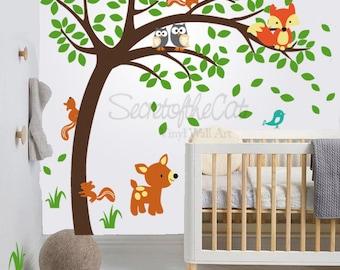 Nursery Wall Decal - Wall Decals Nursery - Windy Tree Vinyl Wall Decal - Tree Wall Decal - deer- Tree and animals