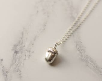 Silver acorn necklace, acorn pendant, woodland jewellery, nature jewellery