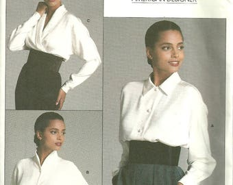 Vogue 1981 American Designer Pattern Calvin Klein Blouse with Collar Variations Size 8 Bust 32 FF