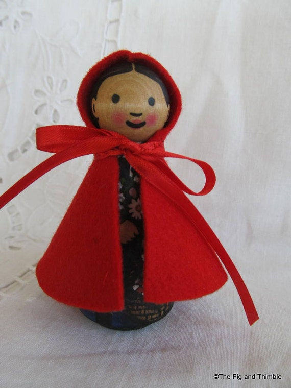 Little Red Riding Hood Peg Doll -watercolored large size 3.5""