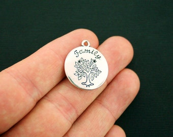 5 Family Tree Charms Antique Silver Tone - SC6101