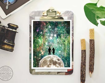 full moon and stars painting - couple print - green celestial wall art - mixed media painting