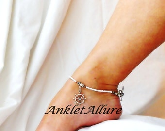 Captains Wheel Anklet Cruise Anklet Bracelet Beach Anklet Cruise Jewelry Nautical Body Jewerly Dangle Anklet