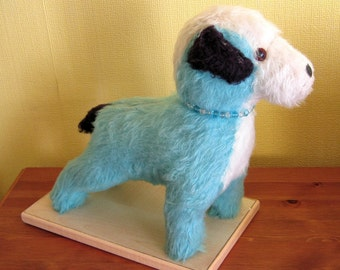 "Vintage 12"" Blue Dog - Blue Mohair Terrier - 1960's Toy - Blue Stuffed Toy Dog"