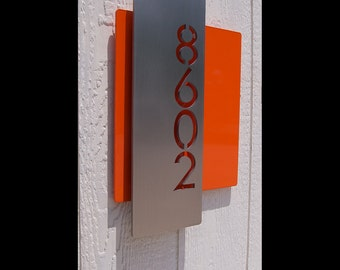 Custom Modern Layered Floating House Numbers Vertical Offset in Stainless Steel