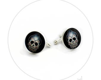 Rockabilly Sugar Skull Tattoo - Round Cufflinks