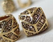 4pc Topaz Crystal Rhinestone Studded Antique Gold Rondell large hole Spacer Barrel Bead, not AB, 12mm x 10mm, hole 6mm. pkg 4 pieces