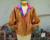 reversable copper//rainbow fractal satin bomber jacket