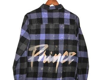 Purple Prince Shirt in Plaid Flannel. Buffalo check lavender black checker music logo album bleached acid wash 80s purple rain ooak unisex