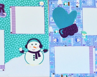 Winter Snowmen Two-page 12 X 12 Scrapbook Layout By SSC Designs