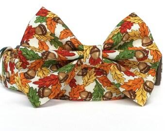 Fall Dog Collar Bow Tie / Thanksgiving Dog Collar / Autumn Dog Collar / Fall Leaves Dog Collar / Dog Bowtie / Orange Brown Dog Bow Tie