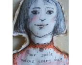 Doll fabric woman face art textile soft original gift home decoration wall decor hand painted OOAK