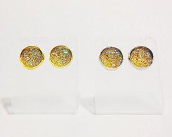 The Sugar Earrings in Lemon | Yellow Glitter Earrings | Glitter Druzy Earrings | Yellow Druzy Earrings | Limoncello Earrings