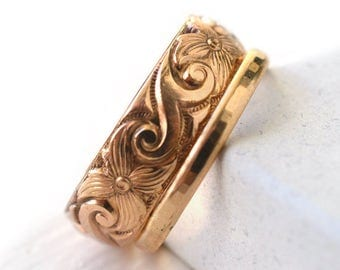 14K Gold Filled Wedding Ring Set, Swirly Scrollwork Patterned Engagement Band, Set of Two, Grooms Jewelry