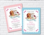 Kitten & Puppy Birthday Invitation, vintage cat dog, retro, vintage invite, 1st 2nd 3rd 4th 5th 6th 7th 8th 9th 10th kids party , card 1102