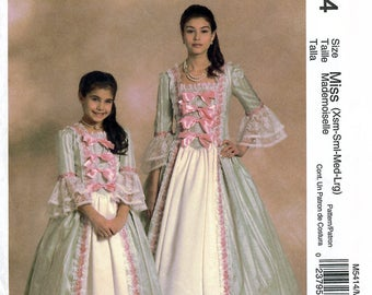McCall's M5414 Sewing Pattern for Misses' Early America Costumes - Uncut - Size Xsm, Sm, Med, Lrg