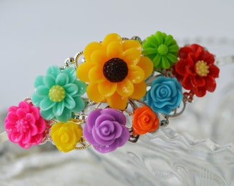SALE-Vintage Style Floral Filigree Headband Multicolor Birthday Party Princess Party Bridesmaid or Prom