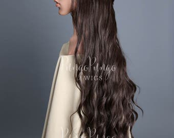 Dark Brown Lace Front Wig / Long Curly Braid Body Wave Hair Disney Princess Costume Elf Game of Thrones Cosplay Warcraft Kylie / Lady Series