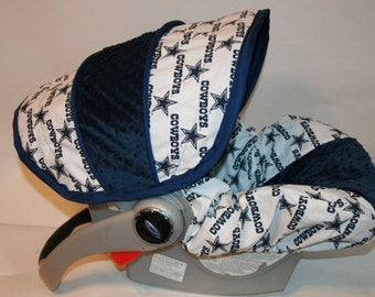 Dallas Cowboys Fabric  with Navy Minky - Infant car seat cover - Custom Order always comes with Free Strap Covers