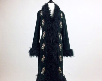 90's does 70's Penny Lane Embroidered Floral with Faux Fur Shaggy Trim Black Suede Coat // M - L