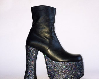90's Bratz BOWIE Hologram Glitter Faux Leather Chunky Platform Black Ankle Boots made in ITALY // 8
