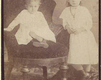 Vintage Two Children Carte de Visite (CDV) Dow's Studios, 1800s