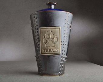 Dog Treat Jar Ready To Ship Treats Rust Sheet Metal Dog Treat Jar by Symmetrical Pottery