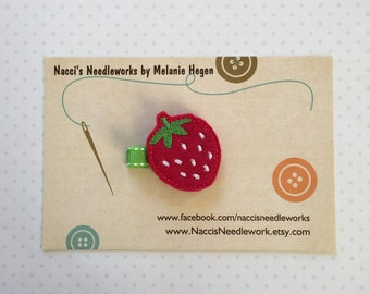 Felt Hair Clip- Strawberry Hair Clip- Felt Hair Clip- Hair Accessories