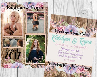 Rustic Wood Pastel Flower Graduation Invitation Best Friends Sisters Siblings Party Printable Boho Chic Feather Floral Modern DIY Photo