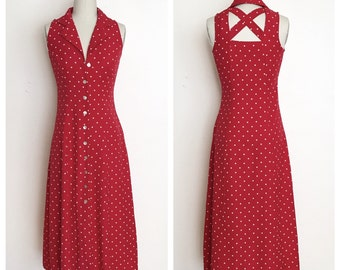 Vintage Minnie polka dot maxi with criss cross back.