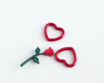 Rose Button Lot Random Supply Lot Craft Sewing Destash Altered Art Found Object
