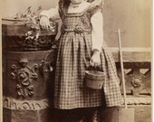 Antique Cabinet Photograph Girl with pail and shovel