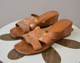 1970s Acapulco Tooled Leather Wedge Sandals