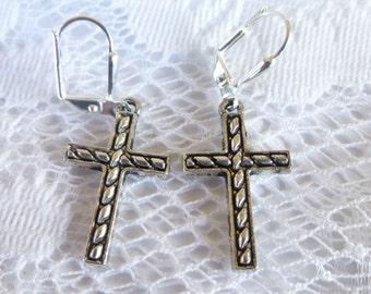 Rope Cross Earrings Tibetan Silver Cross Earrings