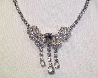 Vintage Bridal Rhinestone Necklace Wedding Something Old Bogoff Jewelry