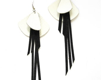 Black and White Statement Grid Leather Earrings with Long Fringe