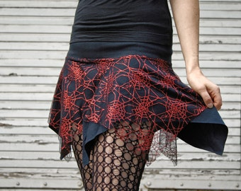 Pixie Skirt Red Spiderweb - goth miniskirt black lace