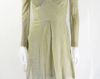 1970s Vintage Gold Lame Shimmer Flared Party Dress UK Size 8