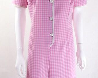 Original 1960s Vintage Pink Gingham Mod Dress UK Size 12/14