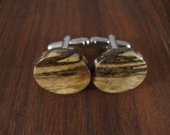 Wooden Round Cuff Links - Spalted Hackberry wood - Wedding, anniversary, any Special Occasion
