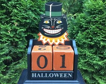 Halloween, Countdown, Primitive, Folk Art, Calendar, Black Cat, Wood, Blocks, Candy Countdown, Weeks, Days,