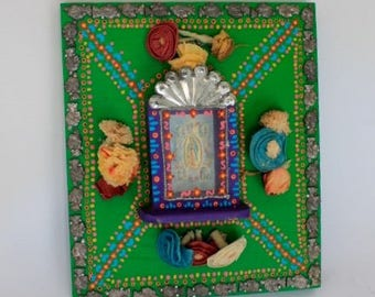 Vintage Our Lady of Guadalupe Mexican  themed artwork mixed media 3d / Mexican Mexico Folk art Original/ heavy