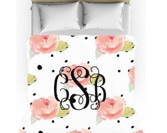 Monogram Bedding - Watercolor Flowers Comforter w/matching cases - Personalized Duvet - Dorm Bedding Set - Personalize with Name or Monogram
