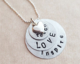 Teach LOVE Inspire Silver Necklace gift for teachers homeschool moms