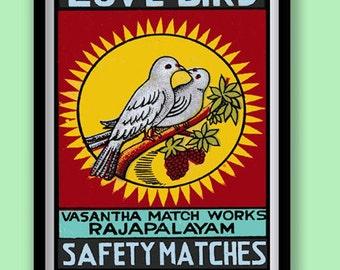 Love Birds Print. Indian Matchbox label art. Vintage wall art. A3 size. Bird wall art print.Romantic print.Colorful print